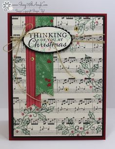I used the pretty Stampin' Up! Embellished Ornaments stamp set and This Christmas Specialty DSP from the Annual Catalog to create a clean and simple Christmas card to share today.