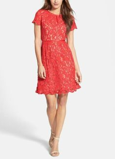 Red scalloped lace dress
