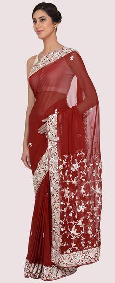 Blood Red Parsi Gara Hand Embroidered Pure Georgette Saree