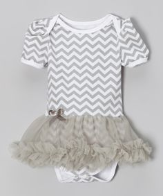 Gray & White Zigzag Skirted Bodysuit