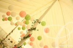 Westwood Park, Colchester.  Pastel colour marquee paper lantern arrangement. www.weddingcreative.co.uk