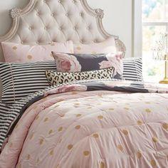 Pottery-Barn-Teen-Emily-and-Meritt-Gold-Dots-Euro-Pillow-Sham-Set