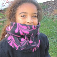 WARM Black & Pink Swirl petals Neck Cozy Endless by BarbieLynns