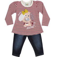 Conjunto Infantil Feminino Jeans de Inverno Vermelho - Have Fun :: 764 Kids | Roupa bebê e infantil
