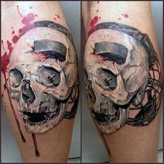 skull and hockey puck tattoo   White Ink Skull With Hockey Puck Male Leg Calf Tattoos