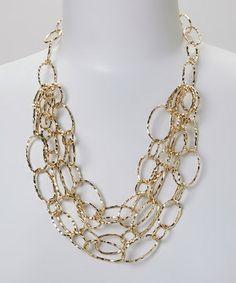 Look at this #zulilyfind! Gold Delicate Oval Link Bib Necklace #zulilyfinds