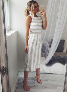 Women's Sleeveless Striped Backless Strappy Wide Leg Jumpsuit - ROAWE.COM