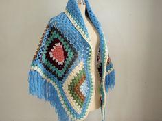Crochet Fantastic Shawl in Blue by Namaoy on Etsy, $65.00