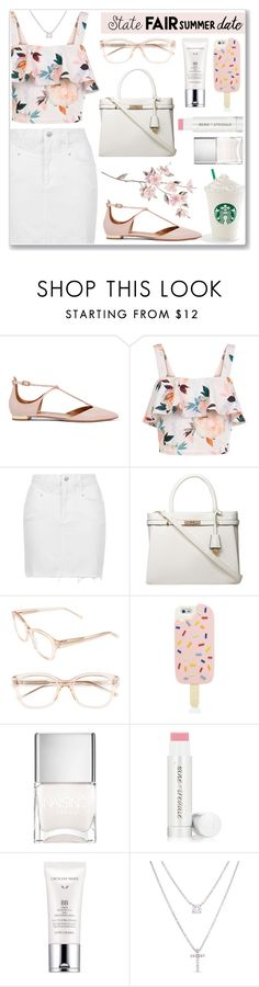 """Summer Date: The State Fair"" by anamarija00 ❤ liked on Polyvore featuring Aquazzura, New Look, Topshop, Dorothy Perkins, Kate Spade, Tory Burch, Nails Inc., Jane Iredale, Estée Lauder and Belk Silverworks"