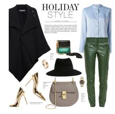 """Leather Pants"" by stellaasteria ❤ liked on Polyvore featuring Roland Mouret, Helmut Lang, Gucci, Gianvito Rossi, Marc Jacobs, Maison Michel, Cartier and Chloé"