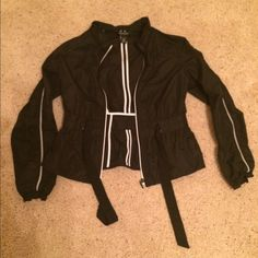WHBM jacket  WHBM jacket, very cute and fitted jacket with a belt. Stripe on both arms, sporty and chic at the same time worn only a few times, excellent condition!! %100 polyester. White House Black Market Jackets & Coats Utility Jackets