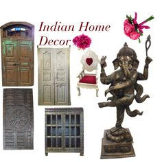 Indian Home Decor by etsy-com on Polyvore featuring interior, interiors, interior design, home, home decor, interior decorating, Home, wooden, statue and bohodecor Yoga Room Decor, Interior Decorating, Interior Design, Indian Home Decor, Boho Decor, Bookends, Interiors, Statue, Polyvore