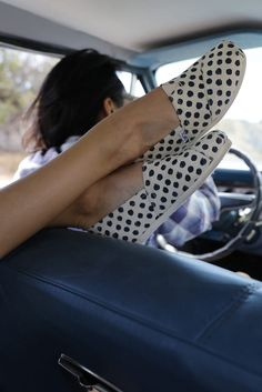 3e96683d8ee Head out on a spontaneous road trip in the Navy Polka Dot TOMS Classics.  Polka