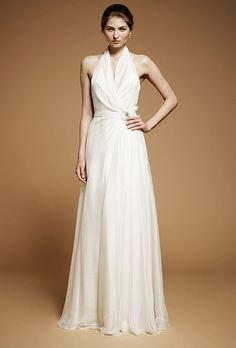 "Brides: Jenny Packham - Fall 2012. ""Alina"" sleeveless chiffon A-line wedding dress with halter straps and a beaded detail at the hip, Jenny Packham"