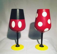 disney themed painted wine glasses