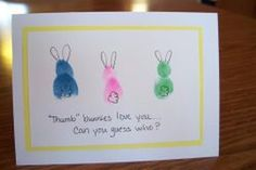 Color kids' thumbs and pointer fingers with washable markers and stamp them on paper in the shape of a bunny. Embellish each thumb bunny with ears and tails to make an Easter card.