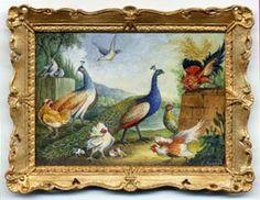 miniature painting 0154 Large study of Fowls inc. Peacocks