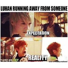exo Luhan expectations and reality Kaisoo, Chanbaek, 2ne1, K Pop, Chanyeol, Kyungsoo, Got7, Memes Exo, Kdrama Memes