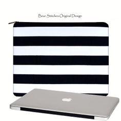 "Laptop Case MacBook Pro / Retina Display 15"", Black and White Stripe Laptop Case, Three Pockets, Padded Case, Laptop Bag, (RTS) In Stock"
