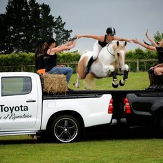 Alycia Burton is amazing!  Here she is jumping two trucks bareback and brideless.