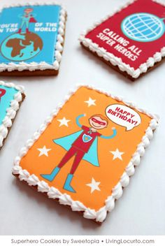 Superhero Cookies - Printable Tags and Cookie Template by Living Locurto Fun Cookies, Decorated Cookies, Sugar Cookies, Superhero Birthday Party, Birthday Parties, Superhero Cookies, Nerd Crafts, The Calling, Diy Party
