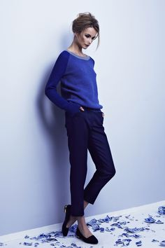 Cadet blue tri-colour waffle knit Eugenie jumper; Royal blue cotton and silk blend tailored Edith trouser