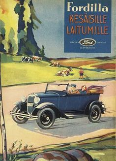 Ads from Finland Vintage Travel Posters, Vintage Ads, Car Illustration, Car Posters, Car Advertising, Old Paintings, Retro Cars, Finland, Illustrations Posters