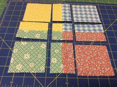 Got a couple charm packs you want to use? Sew them into 4 patches. With your rotary cutter, cut 1-1/4″ from each seam – do not pick up the block between cuts. Exchange the top and botto…