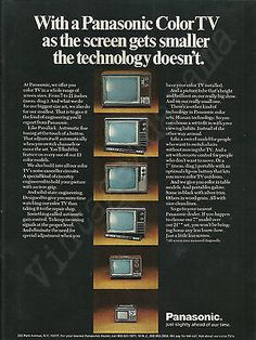 PANASONIC-COLOR-TV-Original-1972-Vintage-Print-Ad-Portable-Television