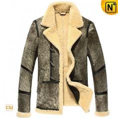 Mens Designer Leather Fur Lined Coat CW878123