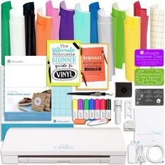 Silhouette Cameo 3 Bluetooth Bundle with Oracal 651 Vinyl, Sketch Pens, Guide Books, and More