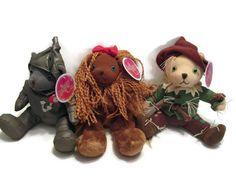 Wizard of Oz Plush Doll Lot ~ Scarecrow, Tin Man, & Lion-from Warner Bros  RARE #Dolls