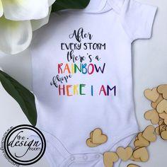 Celebrate a rainbow baby with this gorgeous onesie #rainbowbaby #newborn #newlife #hereIam
