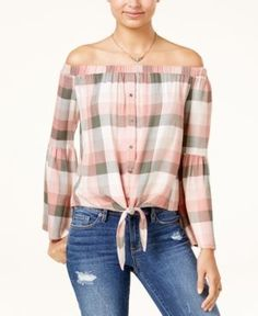 American Rag Juniors' Off-The-Shoulder Plaid Top, Created for Macy's - Plaid