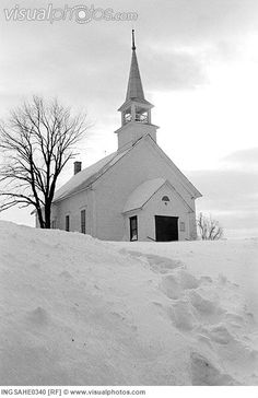 White church in snow