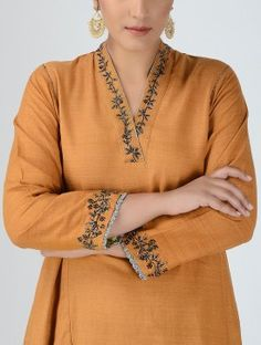 Rust V-neck Embellished Matka Silk Kurta Hand Embroidery Dress, Embroidery Suits Design, Embroidery Neck Designs, Neck Designs For Suits, Dress Neck Designs, Blouse Designs, Kurti Sleeves Design, Kurta Neck Design, Kurta Patterns