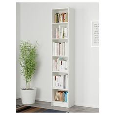 HEMNES Bookcase, white stain, 19 Sustainable beauty from sustainably-sourced solid pine, a natural and renewable material that gets more beautiful with each passing year. Combine with other products in the HEMNES series. Bookshelves For Small Spaces, Small Bookcase, Bookcase Shelves, Short Bookshelf, Shallow Shelves, Narrow Shelves, Brusali, Billy Regal, Ikea Family