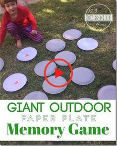 Giant Outdoor Memory Game for Kids - What a great way to practice sight words, math problems, matching and more for preschool, kindergarten and elementary age kids! Summer Activity for kids! kids summer activities Giant Outdoor Memory Game for Kids School Age Activities, Summer Camp Activities, Outdoor Activities For Kids, Outdoor Learning, Fun Activities, Fun Learning, Camping Games For Kids, School Age Games, Summer Activities For Preschoolers