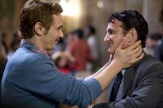 James Franco and Sean Penn  As Scott Smith and Harvey Milk in Milk (2008)  The movie is about Harvey Milk, the first openly gay politician in America to be elected to a major public office, when he won a seat on the San Francisco Board of Supervisors in 1977, and who was murdered in 1978. James Franco is affecting as Milk's lover, Scott Smith, and Josh Brolin turns in a staggering portrayal as Milk's nemesis on the Board.