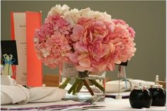 pink white hydrangea and peony centerpieces