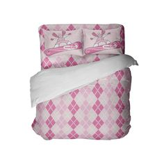 Preppy Pink and White Argyle Comforter Set with Snowboard Girl Pillowcases from Kids Bedding Company Kids Comforter Sets, Kids Comforters, Snowboard Girl, Decorative Pillow Cases, Pillowcases, Preppy, Bedding, Comfy, Pink