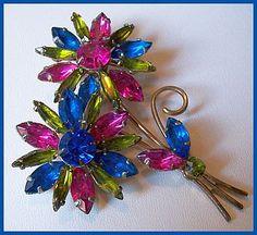 "JULIANA D BROOCH Vintage Flower Cluster w Pink Blue Green Rhinestones Gold Metal 3.5"" EX. $49.50, via Etsy."