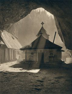 "Kurt Hielscher, Ialomicioara Chapel, Romania from bigsmallworld & yama-bato """" Interesting Buildings, Heaven On Earth, Timeline Photos, Photomontage, Worship, Serenity, Scene, Exterior, Black And White"