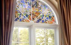 Stained glass decorative window film. No adhesives! Brilliant! Call Budget Blinds today.