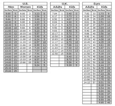 Shoe size conversion chart for sock and slipper making