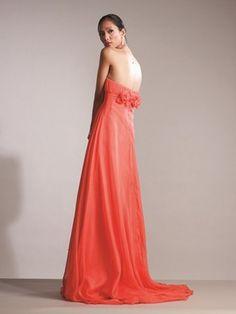 2012 Style A-line Sweetheart  Hand-Made Flower Sleeveless Floor-length Chiffon Prom Dresses / Evening Dresses