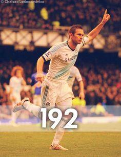Con el doblete de hoy, Frank Lampard quedó solo a 10 goles del mayor anotador en la historia de Chelsea, Bobby Tambling, con 202 tantos.