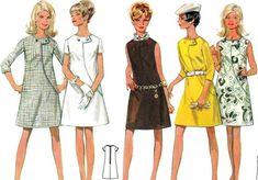 1960s Dress Pattern Butterick 4818 Mod A Line Dress Diagonal Seam Womens Vintage Sewing Pattern Bust 38 Uncut. $14.00, via Etsy.