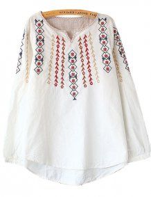 White V Cut Embroideried Loose Casual Blouse