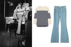 Adam Lippes striped cotton top, $550 net-a-porter.com Michael Kors flared jeans, $415 stylebop.com